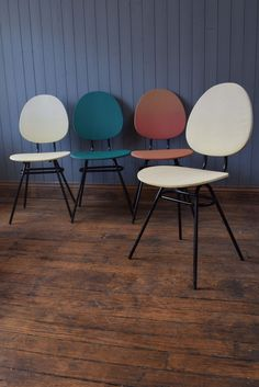 4 Coloured Vintage Retro French Dinning Chairs Can Deliver
