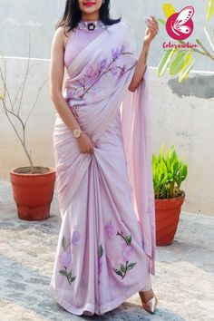 Buy Mauve Pink Hand-painted Silk Georgette Saree - Sarees Online in India Chiffon Saree, Georgette Sarees, Floral Print Sarees, Printed Sarees, Kerala Saree Blouse Designs, Hand Painted Sarees, Dress Indian Style, Indian Wear, Indian Designer Outfits
