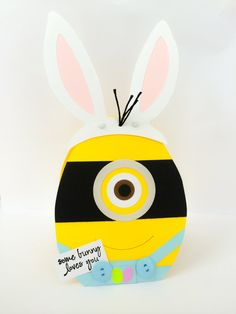Handmade Minion Easter card for anyone who loves Minions! This one eyed minion is in the shape of an Easter Egg with bunny ears on top. Ears fold