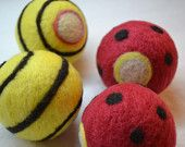 Custom patterned Wool Dryer Balls (hey, if you're gonna have them for years...) about 5$ per for tennis-size. Fun or chic patterns. Also has CUTE toys.