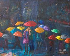 Art Lovers in the Rain   ... Lovers in the Rain Painting for Sale, Lovers in the Rain Fine Art