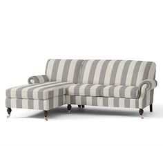 Brooklyn Upholstered Right Arm Loveseat with Chaise, Polyester Wrapped Cushions, Premium Performance Awning Stripe Light Gray/Ivory