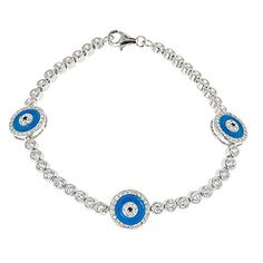 Women's .925 Sterling Silver Tennis Bracelet w. Blue Evil Eye Charms