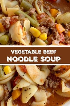 Vegetable beef soup is so easy to make with convenient ingredients! Ground beef, stewed tomato beef broth base, and vegetables with egg nood. Beef Soup Recipes, Noodle Recipes, Ground Beef Recipes, Pasta Recipes, Cooking Recipes, Ground Beef And Noodle Recipe, Cooking Ideas, Cooking Pork, Hamburger Recipes