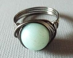 Amazonite Ring Mint Green Ring Gunmetal Ring by PepperandPomme