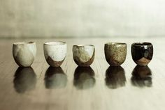 Nom living Rustic ceramic Sake Cup Small Celadon Speckle Grey Glaze