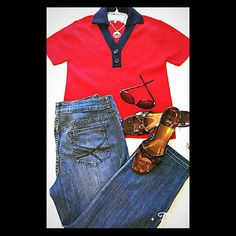 BUNDLE 🌹🌹 HP 7/29  🌹🌹RED LIZ SPORT BY LIZ CLAI SPECIAL SALE TODAY ONLY ENDS 12MN EST.  LADIES SIZE MED RED & NAVY TOP OF SWEATER TYPE FABRIC..70%.RAYON/30% POLYESTER BLEND . Is Free of Any Signs of Wear. Comes from a Smoke Free Home. PRICE IS FIRM LIZ SPORT BY LIZ CLAIBORNE  Tops Blouses