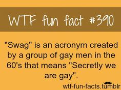 """Another reason as to why """"swag"""" should not be a socially acceptable word :P"""