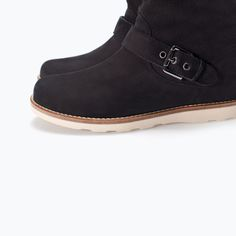 ZARA - KIDS - LEATHER ANKLE BOOT WITH TURN-OVER FLAP