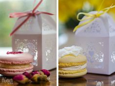 Decorated rose macaron and lemon curd macaron with crystallised primrose flower by Medici Macarons | Photography by www.colinmurdochstudio.com Yorkshire