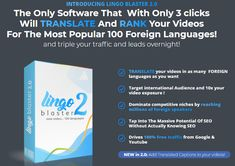 Lingo Blaster 2.0 Review + OTO 1, OTO 2, OTO 3, OTO 4 - by Ali G. - Best New Traffic Software That With Only 3 Clicks Will Translate And Rank Your Videos For The Most Popular 100 Foreign Languages And Get Targeted Triple Your Traffic From Buyer Keywords And Leads Overnight Hungry For You, How To Influence People, Cloud Based, Most Popular, Guitar Lessons, You Youtube, You Videos, Languages, Seo