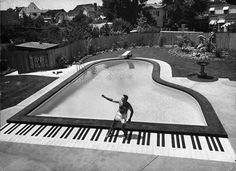 Piano-shaped pool at Liberace's house, Las Vegas. Xo, LisaPriceInc.