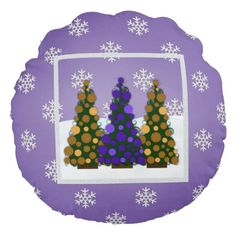 Snowy Purple And Gold Christmas Tree Round Pillow