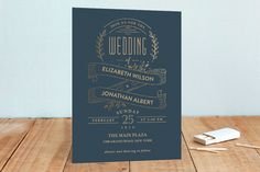 Golden Celebration Foil-Pressed Wedding Invitations by Joanne Williams at minted.com