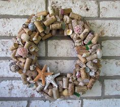 Seashell and Wine Cork Wreath Custom Made by HomeSweetCoast
