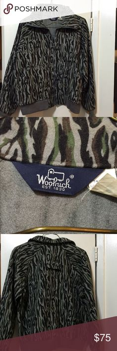 Woolrich fall jacket. Woolrich fall camouflage jacket. 100% pure wool. Size: Men's Large. Colors: green, gray, black and brown. Woolrich Jackets & Coats Utility Jackets