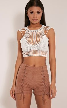 Samanthee Cream Crochet Crop Top