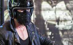 Leather motorcycle mask IDDQD