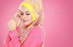 portrait of beautiful woman wearing hijab - Stock Photo - Images