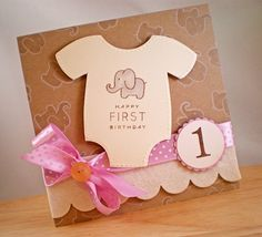 PSA Stamp Camp: LOVE this adorable Onesie themed 1st Birthday Girl Card by Jennifer Holmes
