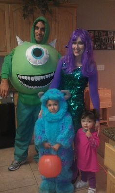 Last years Monsters Inc. family costume.. The Mike costume was made by putting paper mache on a yoga ball.. the horns, eye and mouth are made out of felt that had been stuffed with pillow stuffing. It was such a hit!