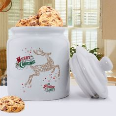 Personalized Holiday Cookie Jar - Vintage Reindeer