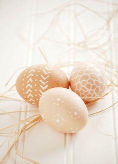 White pen Easter eggs.