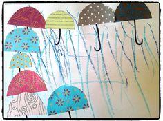 bricolage pluie, parapluie, enfant, bricolage automne
