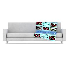 "Vikki Salmela ""American Blanket Pattern"" Fleece Throw Blanket from KESS InHouse #native #ethnic #blue #aqua #geo #stripe #modern #art for #fleece #soft #warm #blankets for #home #decor #sofa #bed #throw #apartment #gift."