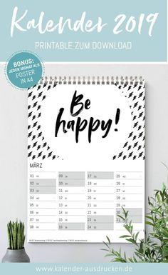 kalender 2019 als pdf vorlagen zum download ausdrucken. Black Bedroom Furniture Sets. Home Design Ideas
