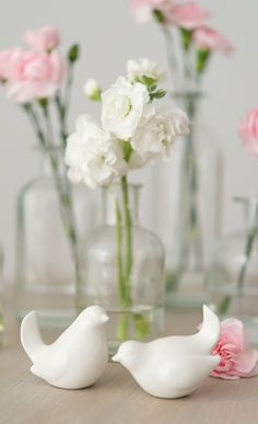 Sweet ceramic white birds.
