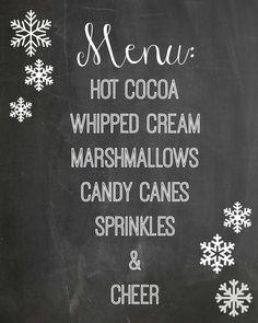 Hot Cocoa Station Free Chalkboard Printable