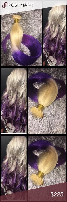"""BLONDE TO PURPLE OMBRE KERATIN FUSIONS. 100 strand MALAYSIAN VIRGIN . THICK ROOT TO END! NO FLY AWAYS! FLAT IRON, WASH, CURL OR EVEN COLOR!  100 strand pack. 20"""" long. Accessories Hair Accessories"""