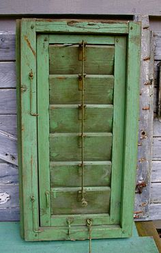 Architectural Salvage Green Wooden Shutter~Love the green...