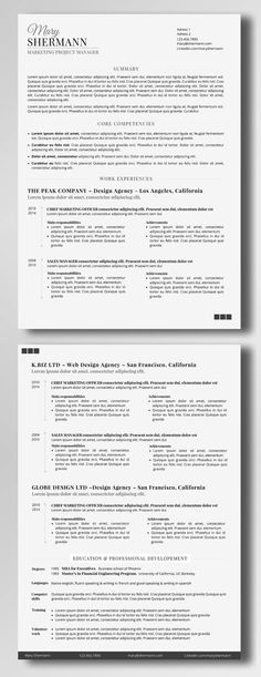 Because you are worth a smart resume / CV… Take your resume to a whole new level customizing this minimalist professional template (2 pages - US