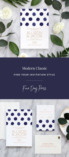 Modern wedding invitations by Fine Day Press #polkadot #weddinginspiration #weddinginvitations #modernwedding #watercolorweddinginvitations