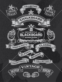 Chalkboard Hand Drawn Vintage Vector Design Elements — Stock Vector
