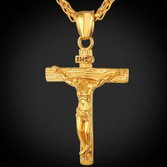 U7 Chain For Men Trendy Yellow Gold Plated Stainless Steel INRI Crucifix Cross Necklace Men Jewelry Wholesale Jesus Piece P1166