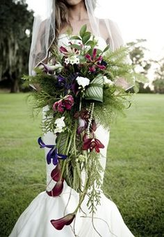 overflowing tropical cascade bouquet