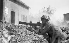 British soldier with PIAT at Saint-Martin-des-Besaces, Basse-Normandie, 1 August 1944