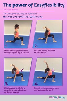 """If you want a True (Squared) Front Split you can't do it with tight psoas. Not going to happen. Many other techniques require a flexible Psoas. It's a rather tight and """"hard to get to"""" muscle. But its flexibility is an absolute must. Ballet Stretches, Stretches For Flexibility, Cheer Stretches, Stretching Exercises, Psoas Stretch, Psoas Release, Tight Hip Flexors, Easy Meditation, Psoas Muscle"""