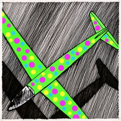 PLANEADOR : autor: Ramiro Quesada técnica: mixta dimensiones: 15,8 CM por 15,8 CM versión 2  ............................................  Gira el disco lentamente por la habitación soy piloto de juguetes entre nubes voy Cruzo el valle en mi frágil planeador La ternura de tu duda mi habitual rincón en cada mínimo detalle creo oir tu voz Cruza el valle suenas frágil como yo   Texto: Gustavo Cerati | quesadaramiro