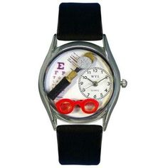 Whimsical Womens Opthamologist Black Leather Watch