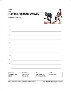 This Softball Score Card Has Many Spaces On Which To Record