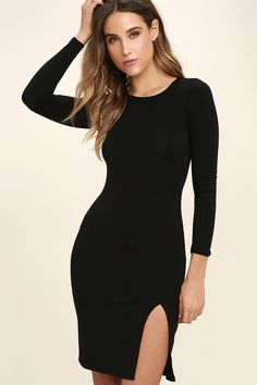 Curious to know what fabulous feels like? You will know as soon as you have the How I Wonder Black Long Sleeve Midi Dress! Lightweight jersey knit is soft and stretchy across a bateau neckline and fitted, long sleeve bodice. Bodycon silhouette continues into the midi skirt, finished with a sexy side slit.