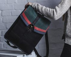 Convertible city backpack Crossbody bag Red & black waterproof canvas bag Chic women bag Stylish lightweight bag Unique gift for her Lightweight Backpack, Unique Gifts For Her, Day Bag, Convertible, Messenger Bag, Crossbody Bag, Backpacks, Chic, Stylish