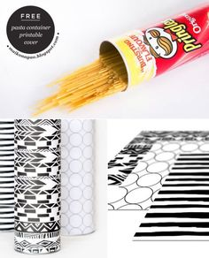 DIY Pasta container plus printable cover designed by Maiko Nagao Diy Projects To Try, Craft Projects, Fun Crafts, Diy And Crafts, Pringles Can, Diy Kitchen, Washi, Free Printables, Container