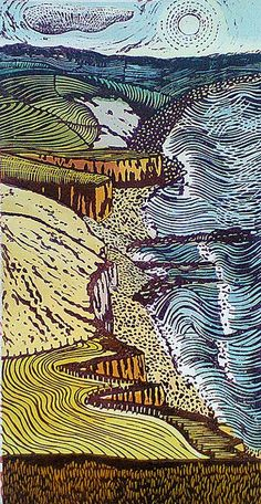 """""""From the Beacon to the Mouth relief print by Liz Somerville… Landscape Prints, Landscape Art, Linoleum Print, Linocut Prints, Art Prints, Block Prints, Gravure Photo, Linoprint, Wood Engraving"""