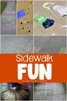 Sidewalk Chalk Games To Kill Boredom! I have discovered this over and over again - most times – the simple activities and games are the favorite ones. And often they happen either in the house or right outside, on your sidewalk. Outdoor Activities For Kids, Infant Activities, Summer Activities, Preschool Activities, Games For Kids, Family Activities, Sidewalk Chalk Games, Outdoor Fun For Kids, Outdoor Play