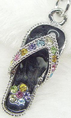 Black Rhinestoned Flip Flop 1 inch long 1 PIECE by Thatsagem